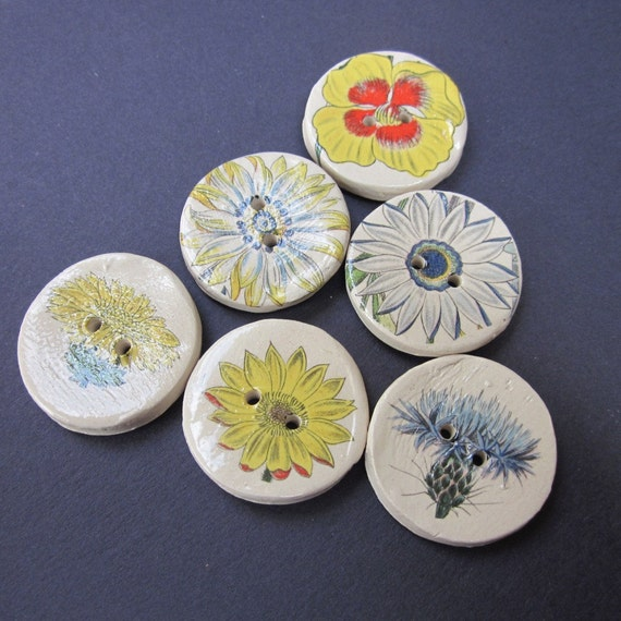 6 Yellow and Blue Flower Pattern Glazed White Buttons