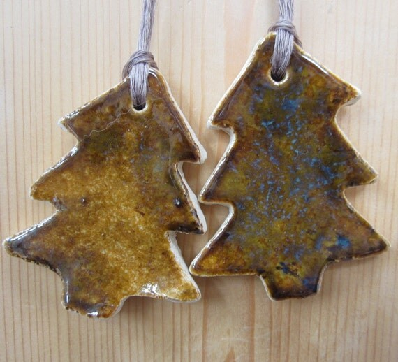 2 Copper Coloured Christmas Tree Decorations By Terracottatoys