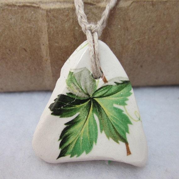 Vine Leaf Ceramic Pendant Necklace
