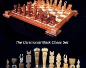 Chess Set Ceremonial Mask Chess Set on etsy custom themes wooden chess sets and wood chess table.
