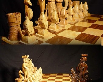Chess Set Handmade Atlantis Chess Set on etsy, handcarved   custom chess sets, custom chess pieces, and custom chess boards