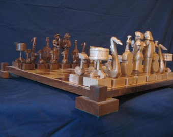 Chess Set Jazz Chess Set  Handmade on etsy chess sets,   hand carved wood chess pieces, custom themed chess boards