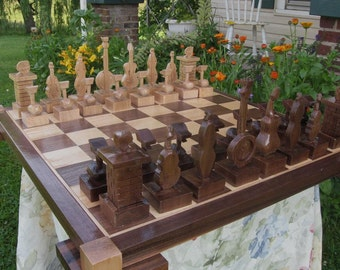 Chess Set Handmade Carved Chess Sets by JimArnoldsChessSets on etsy