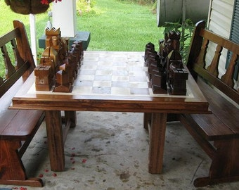 Chess Table handmade on etsy  hand carved  chess sets    chess boards, custom themed chess pieces