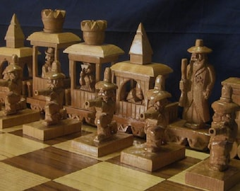 Chess Set Train Robbery Chess Set  on etsy  custom chess sets