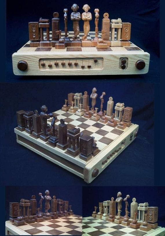 Chess Set DJ Chess Set handcarved custom chess sets by JimArnoldsChessSets