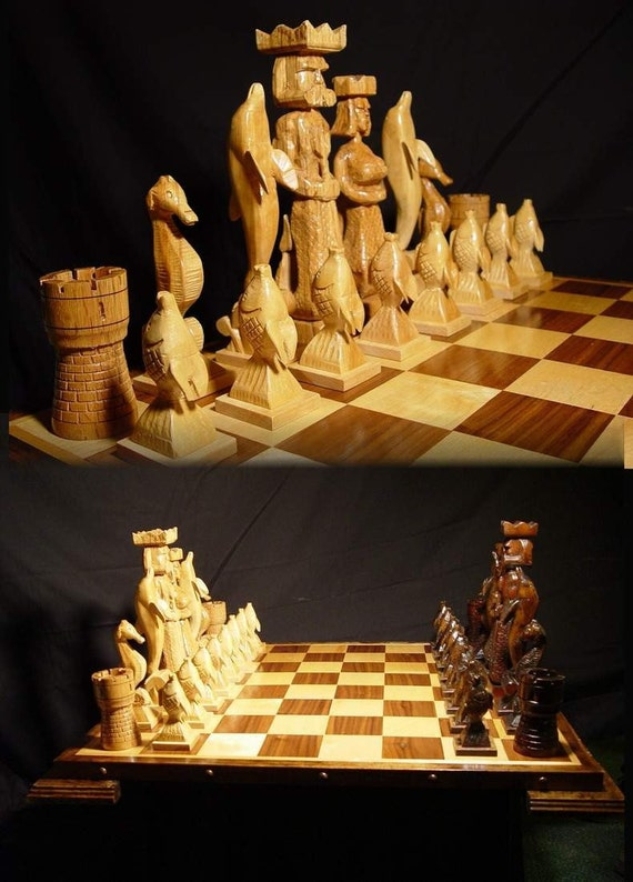 Chess Set Handmade Atlantis Chess Set On Etsy Handcarved