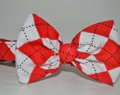 Red Argyle Dog Collar with Bow Tie