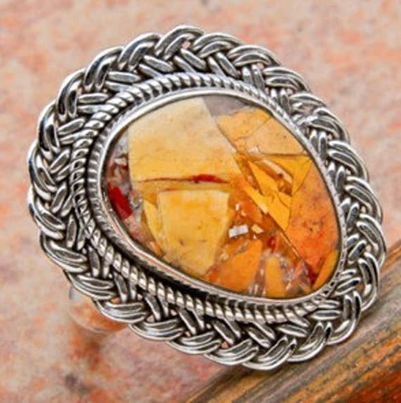 Golden Mookite Jasper Sterling Silver Ring For Craft Supply Sold by Weight