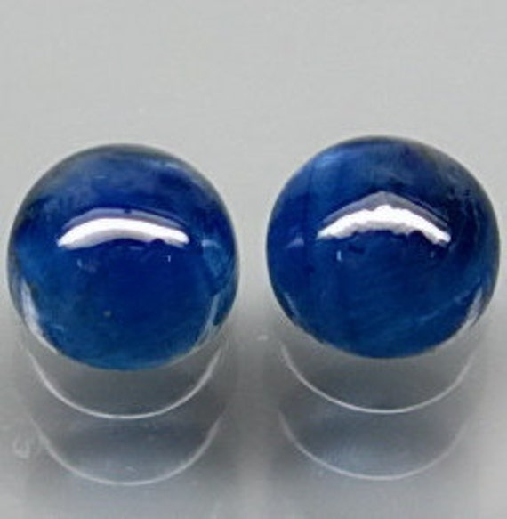 Gemmy Medium True Blue Sapphire Round Cabochons 6 MM Matched Pair 3.03 Carats AA Quality