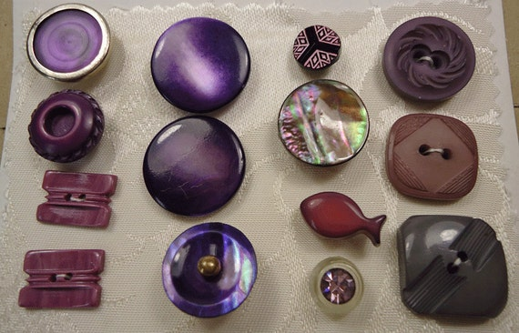 Vintage buttons - deep purple collection