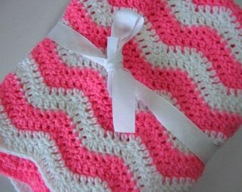 Baby blanket crochet pink and white ripple blanket
