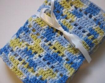 Baby blanket crochet blue yellow cream blanket
