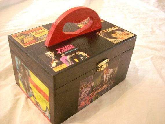 Classic Horror Collage Handled Keepsake Box Tote