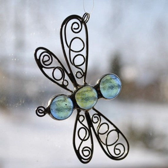 Light Blue Mini Dragonfly Sun Catcher