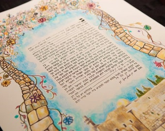 Jerusalem Ketubah Jewish Marriage Certificate, Modern Ketubah, Custom Ketubah,Personalized Ketubah, Art Ketubah, Customized Ketubah