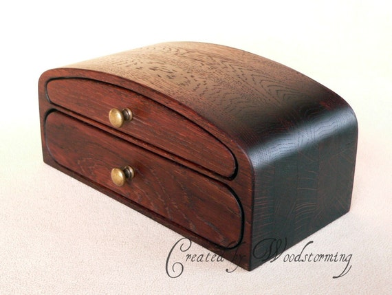 Wooden jewelry box - handmade of stained oak, dark brown - ready to ship