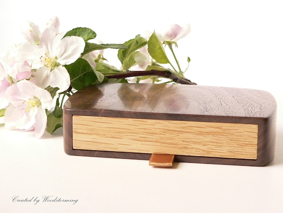 Wedding ring box - wooden handmade ring bearer box with pillow for rings - MADE TO ORDER