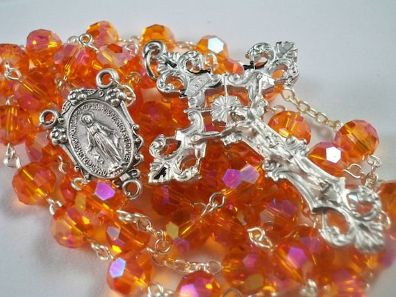Handmade Orange Crystal Rosary, Fancy Miraculous Medal Center, Diamond Cut Crucifix