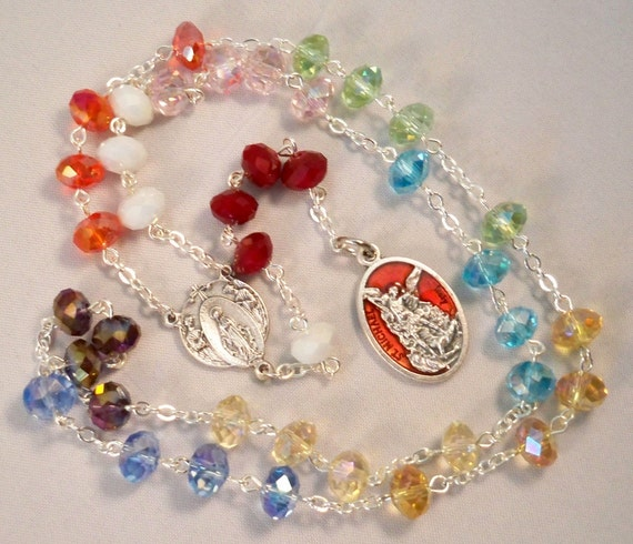 Handmade St. Michael Chaplet/Chaplet of the Holy Angels, Gorgeous Crystal Rondelles, Multi-colored