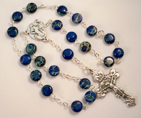 Handmade Chaplet of Our Lady of Medjugorje, Peace Chaplet, Blue Sea Sediment Jasper Beads