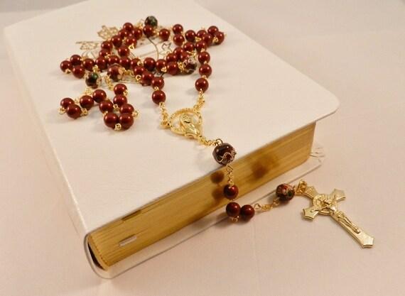 Handmade Rosary:  Swarovski Maroon Burgundy Pearl Rosary, Gold Tone Queen of Heaven Center, Benedictine Crucifix