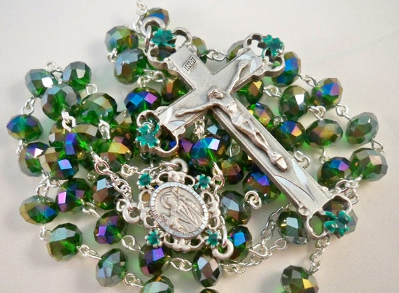 Handmade St. Patrick Rosary, Emerald Crystal Rondelle Beads, Matching Enamel & Pewter Center and Crucifix