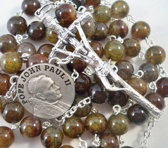 Handmade Catholic Rosary, Pope John Paul II Center, Dark Dragon Vein Agate