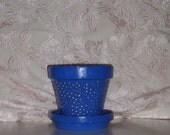 shabby chic blue flower pot