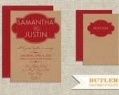 Modern Frame Kraft Paper Wedding Invitation