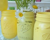 Set of 8 Distressed Mason Jar Vases