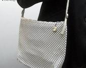 Vintage Whiting and Davis Cream 1980's Alumesh purse