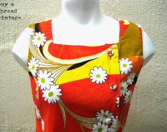 Vintage 60s Citrus  Flower Power Asymmetrical Tunic by Holo Hawaii