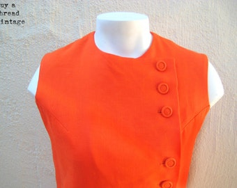 Vintage 60s Mandarin Orange Dropped Waist Linen Mini Dress