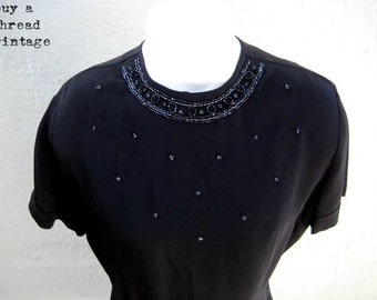 Vintage 60s Vanity Original Black evening blouse