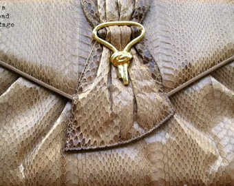 Vintage Snakeskin Convertible Fan Clutch Purse New With Tags