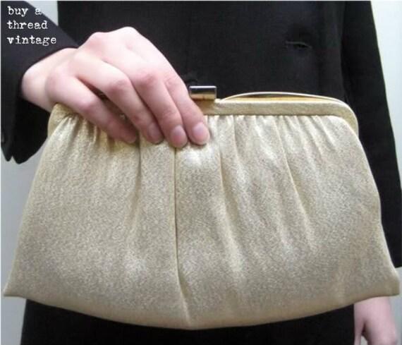 Vintage 1950's Ande' Gold Lame' Evening Bag