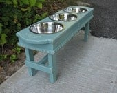 Large Dog Bowl Pet Feeder, Cottage Chic Celadon, 3 Two Quart Stainless Bowls, Shabby Chic Elevated Pet Feeder - Made to Order