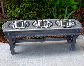 Antique Gray Distressed  Elevated Dog Bowl Pet Feeder 3 Two Quart Stainless Bowls For Large Dogs- Made To Order