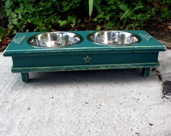 Green Cottage ChicElevated Dog Bowl Pet Feeder - 2 Two Quart Stainless Bowls Medium Dogs and Cats - Made To Order