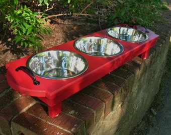 Red Elevated Wooden Cat or Dog Feeder - 3 Two Quart Stainless Bowls Black Handles Made To Order