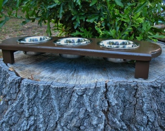 Elevated Pet Feeder Small Dog or Cat, Feeding Station, Dog Bowls,  Chocolate Brown Color - Three One Pint Bowls - Modern Look, Made to Order