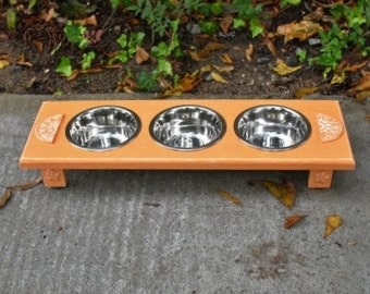 Tangerine Elevated Pet Feeder for Cats or Small Dogs -Cottage Chic Wooden Raised - 3 One Pint Bowls - Made To Order