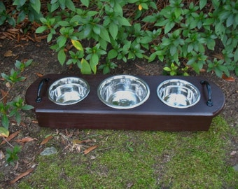 Cat or Dog Pet Wooden Feeder Rich Kona Brown with 1 One Quart and 2 One Pint Bowls - Made To Order