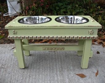 Raised Dog Bowl Pet Feeder, Dog Feeding Station, Cottage Chic, Lime Juice Green, 2 Two Quart Stainless Bowls,  Made to Order