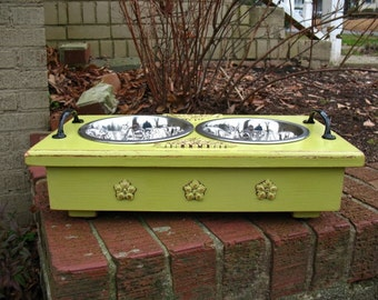Wooden Shabby Chic Pet Feeder -  Raised for Dogs Cats Two - Chartreuse One Quart Paw Print Stainless Bowls Made To Order