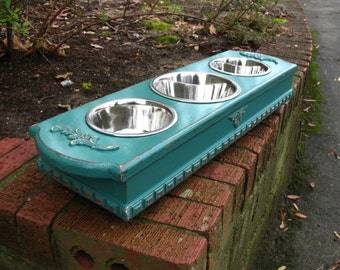 Pet Feeder For Cats or Small Dogs - Turquoise Cottage Chic Dog Bowl  One 1 Qt, Two 1 Pint Stainless Bowls Made To Order