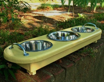 Elevated Dog Bowl Pet Feeder Small to Medium Dog or Cat, 1 One Quart, 2 One Pint Bowls - Sunshine Yellow - Made to Order