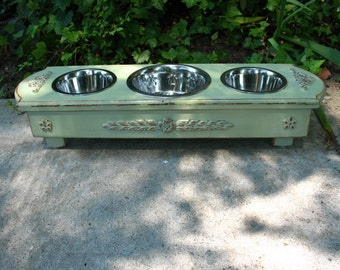 Elevated Dog Bowl Pet Feeder For Cats or Dogs, Featured in Tori Spelling's Blog, Cottage Chic 1 One Quart & 2 One Pint Bowls,  Made To Order