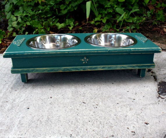 Green Cottage Chic Elevated Dog Bowl Pet Feeder, 2 Two Quart Stainless Bowls Medium Dogs and Cats - Made To Order